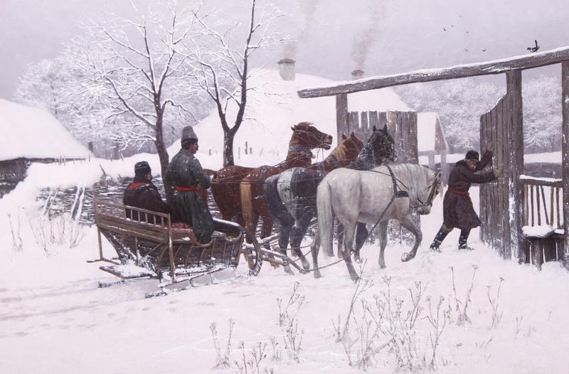 """Włodzimierz Łoś, """"Sanie przedbramą"""",1885 Obraz zakupiony w2014 r. zdofinansowania MKiDN."""
