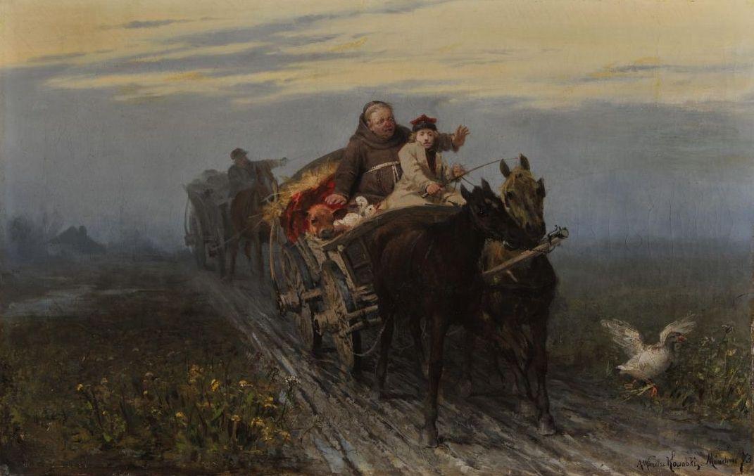"""Alfred Wierusz-Kowalski, """"Powrót kwestarza"""", 1873. Obraz zakupiony w2015 r. zdofinansowania MKiDN."""