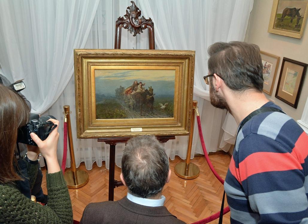 """Prezentacji obrazu Alfreda Wierusza-Kowalskiego, """"Powrót kwestarza"""", 1873 r. (fot.A.Trochimiuk)."""