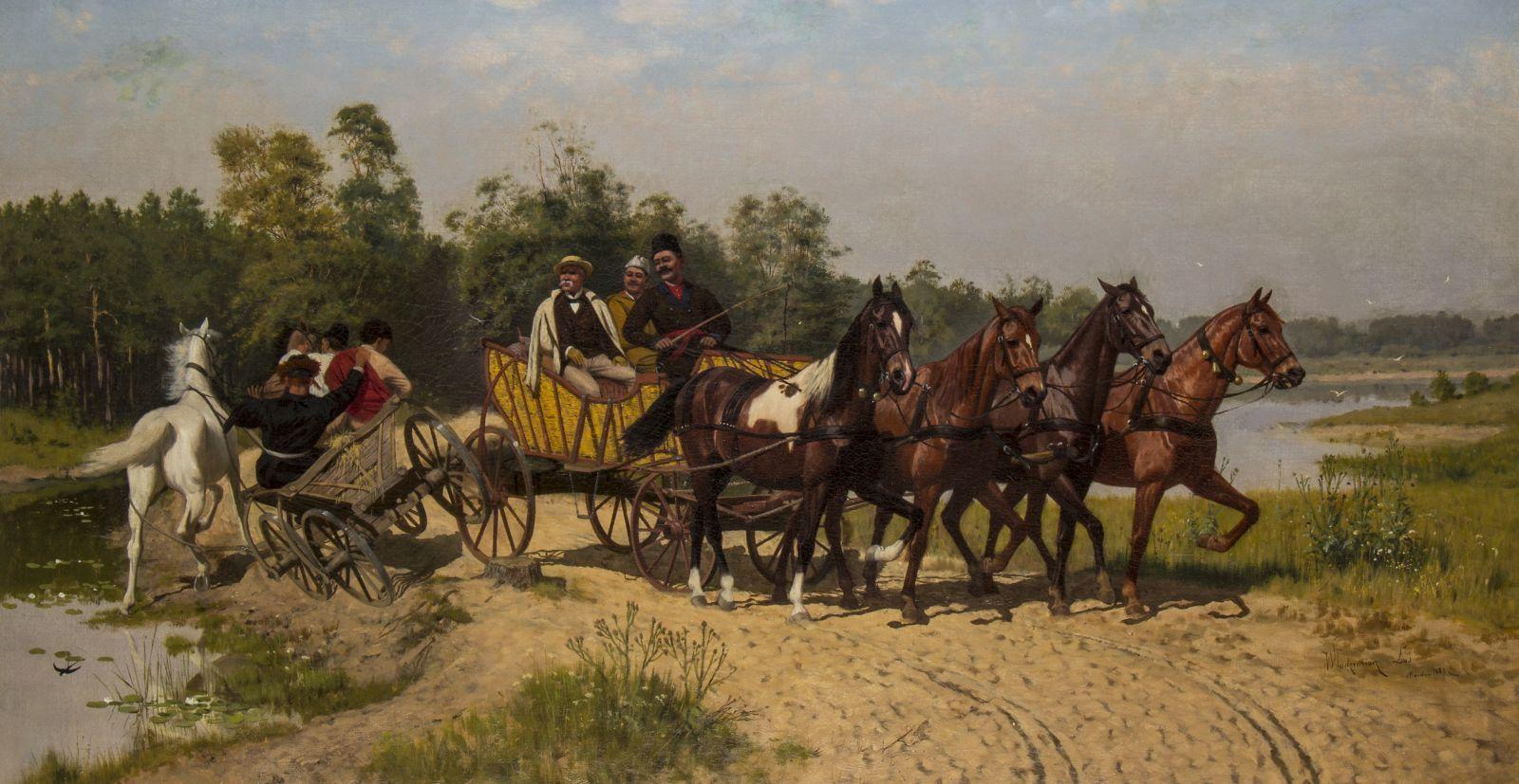 """Włodzimierz Łoś, """"Spotkanie nagrobli"""", 1883. Obraz zakupiony w2017 r. zdofinansowania MKiDN"""