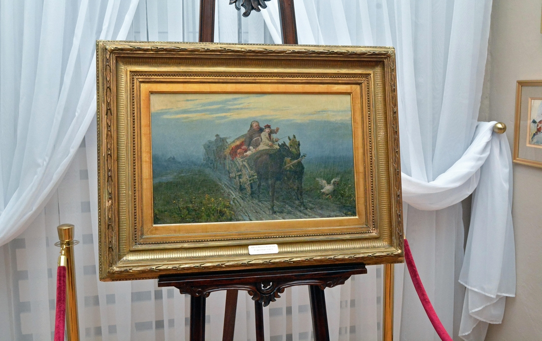 """Prezentacji obrazu Alfreda Wierusza-Kowalskiego, """"Powrót kwestarza"""", 1873 r. (fot. A.Trochimiuk)."""